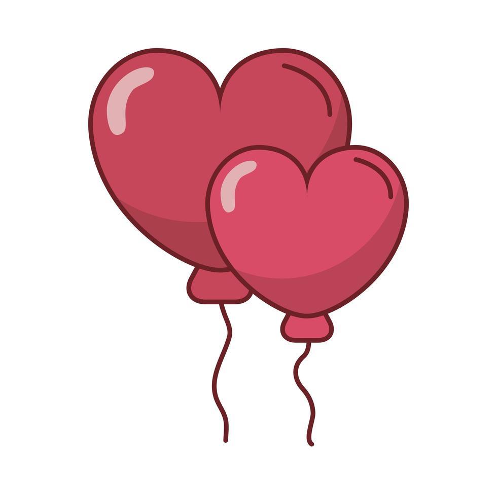 joyeux saint valentin coeur ballons hélium vecteur