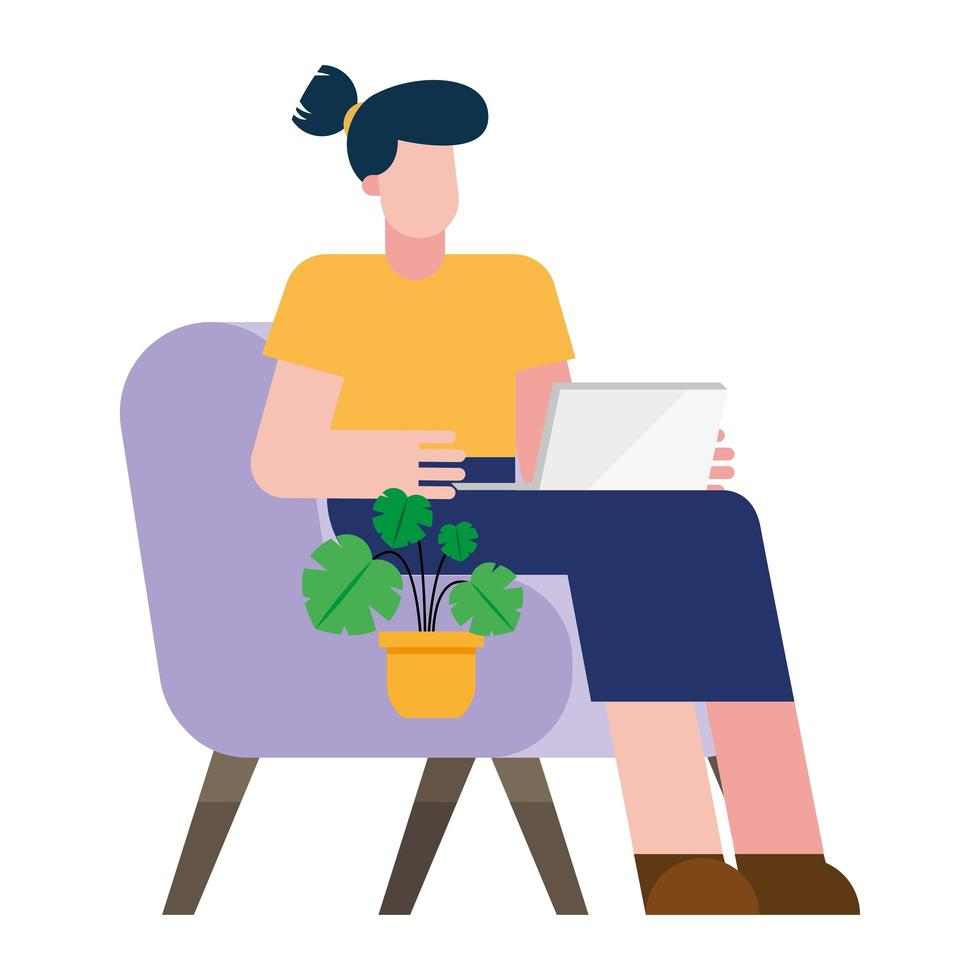 femme avec ordinateur portable sur chaise travaillant à partir de la conception de vecteur à la maison