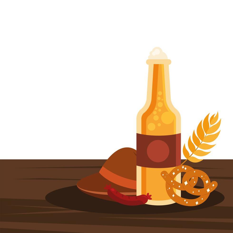 bouteille de bière oktoberfest, chapeau, bretzel et conception de vecteur de saucisse