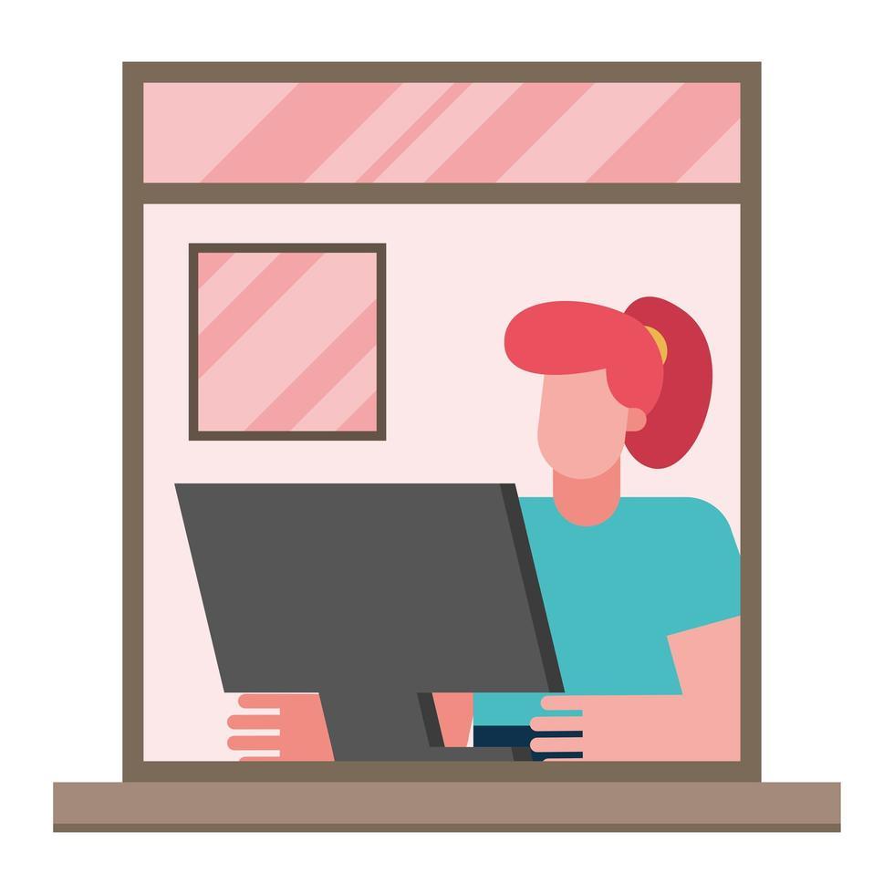 femme avec ordinateur travaillant à partir de la conception de vecteur de fenêtre d'accueil
