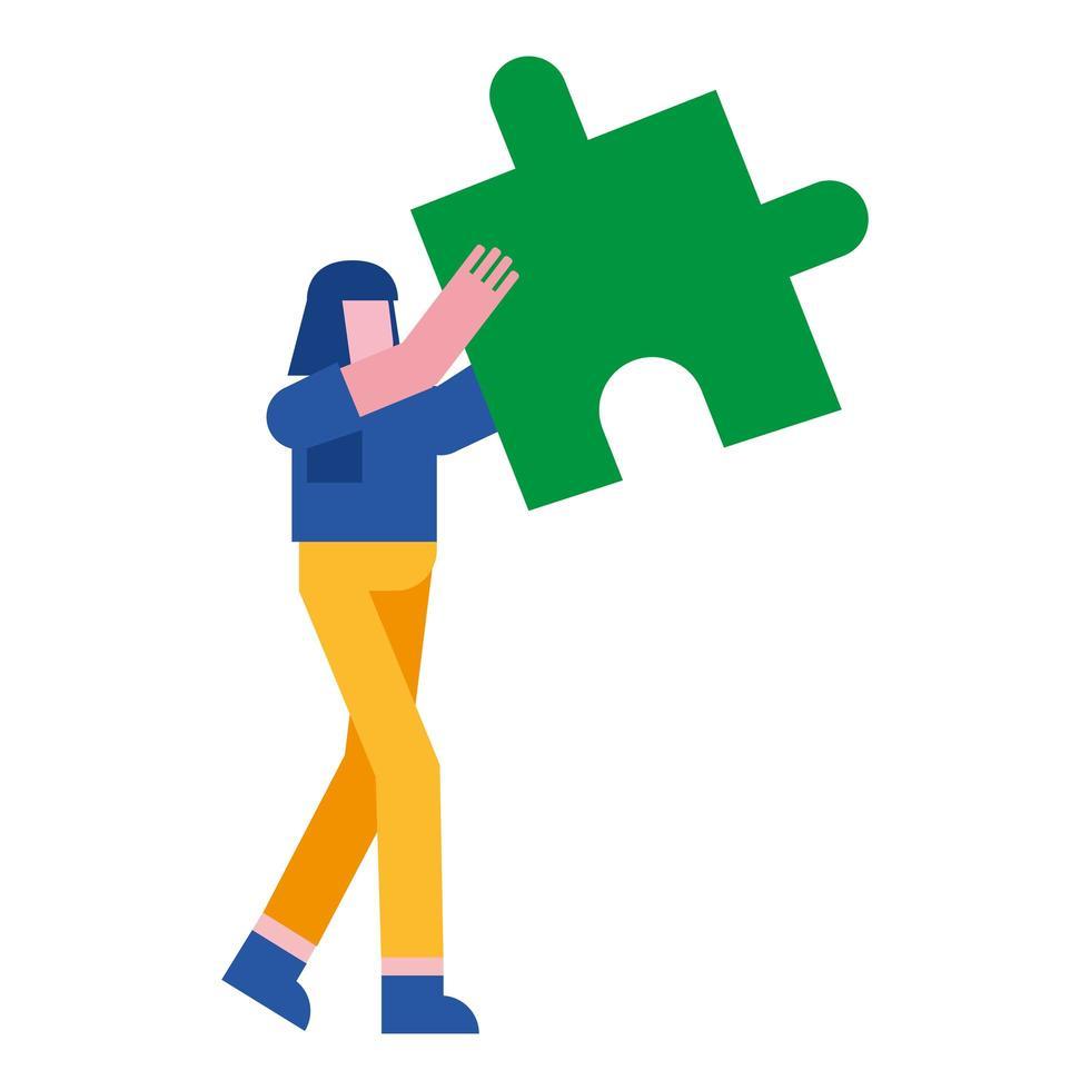 femme avec conception de vecteur de puzzle