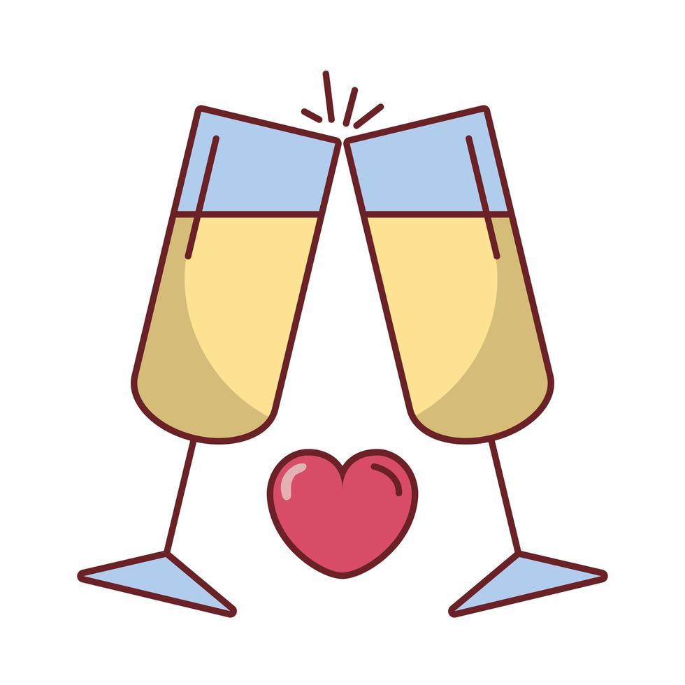 verres à vin de la saint valentin avec un coeur vecteur