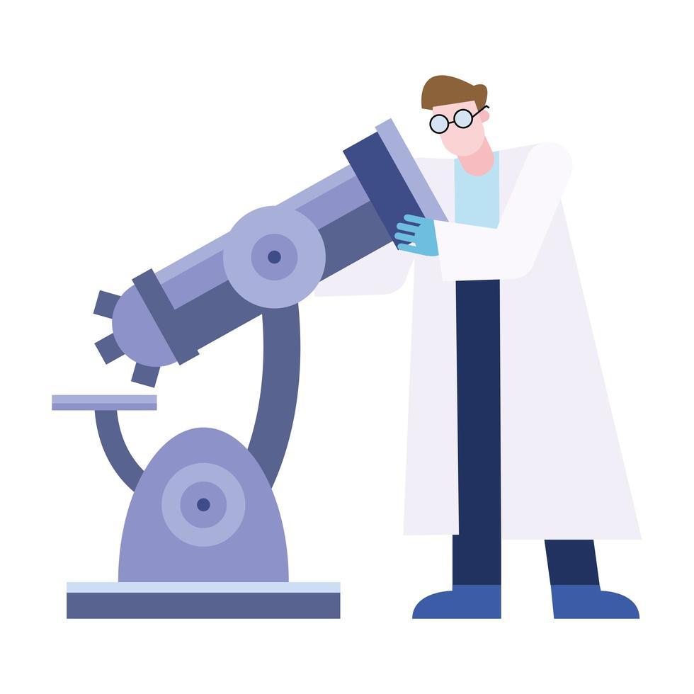 microscope de chimie et conception de vecteur homme chimique