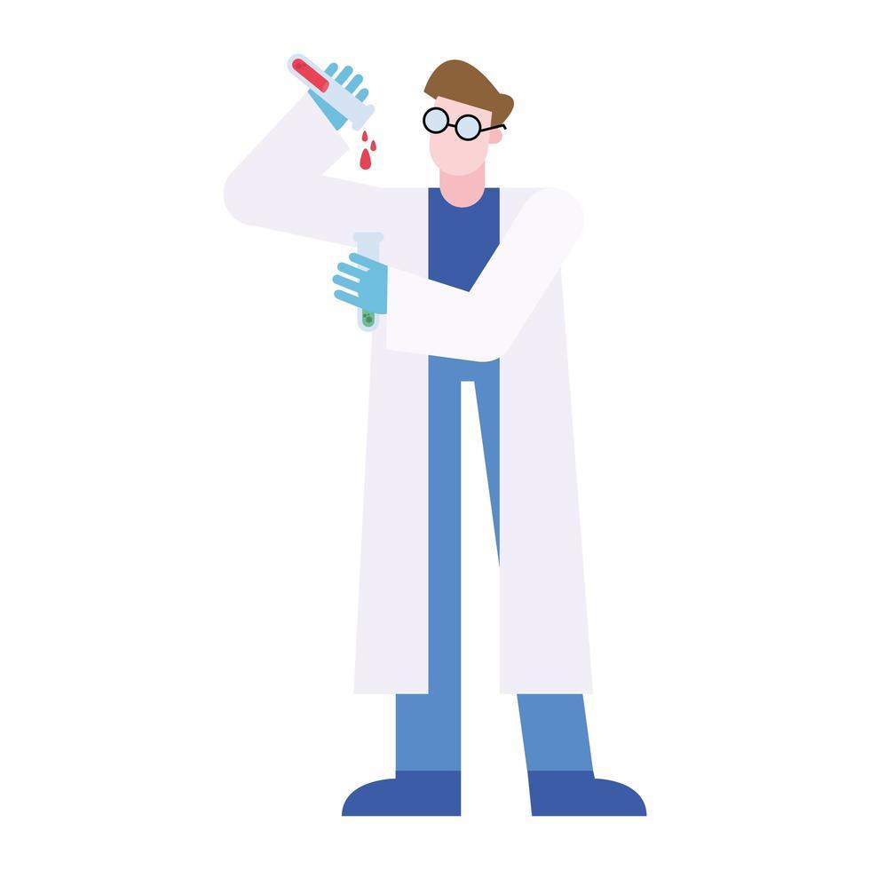 chimiste, homme, à, tubes, vecteur, conception vecteur