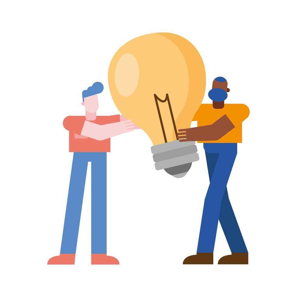 hommes avec conception de vecteur ampoule