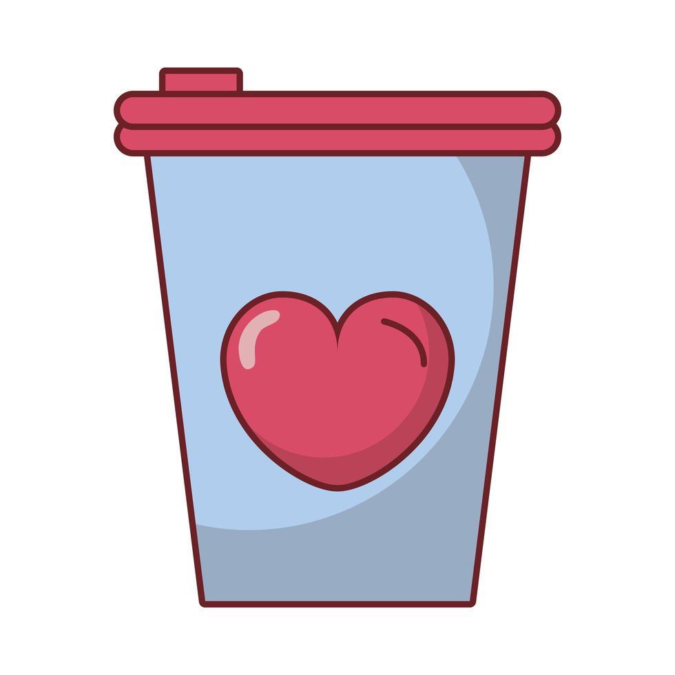 bonne boisson au café saint valentin avec coeur vecteur