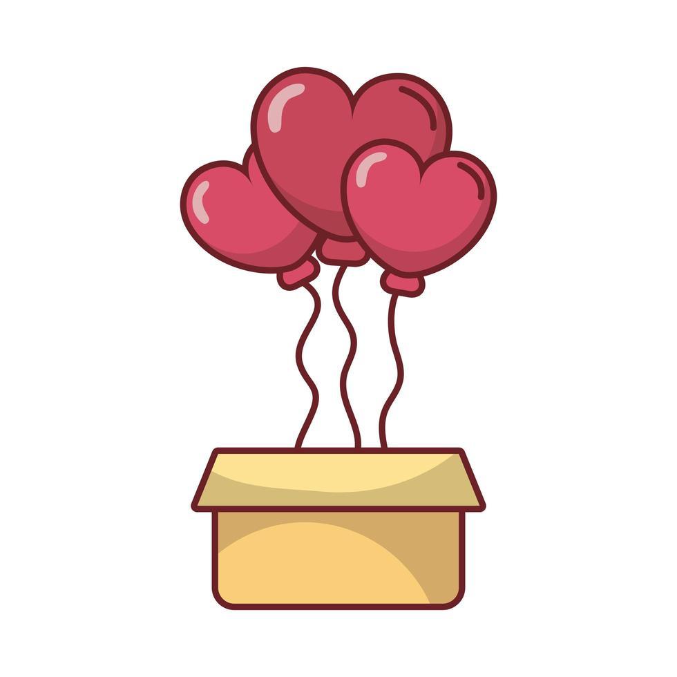 ballons coeur joyeux saint valentin avec boîte vecteur