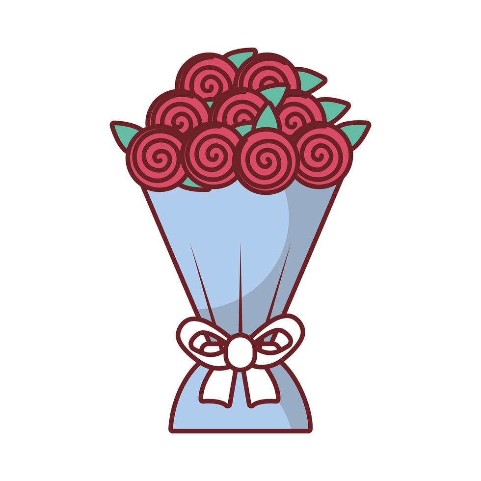 icône de bouquet de roses saint valentin vecteur