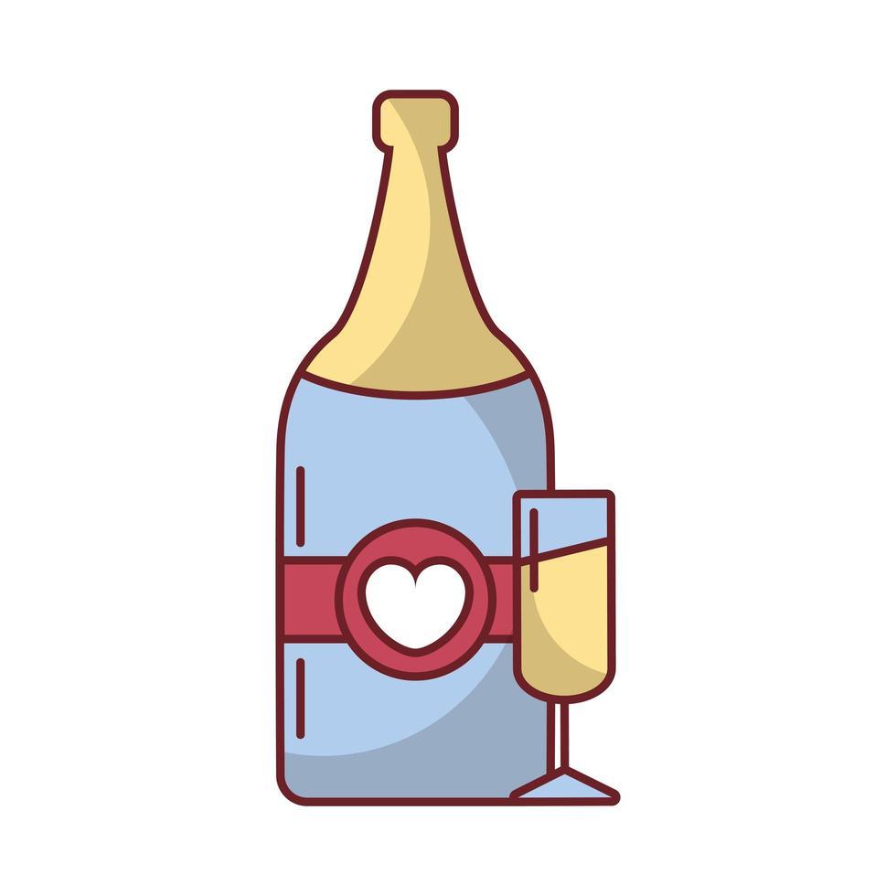 bonne bouteille de vin saint valentin avec coeur vecteur