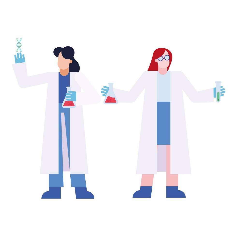 chimiste avec flacons et conception de vecteur de tube