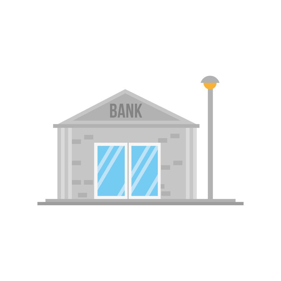 petite scène de façade de bâtiment de banque vecteur