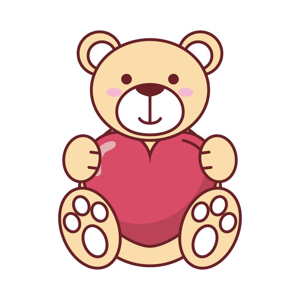 ours en peluche heureux saint valentin avec coeur vecteur