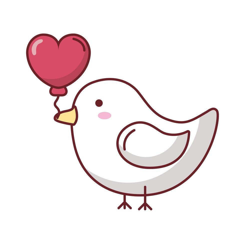 oiseau joyeux saint valentin avec coeur vecteur