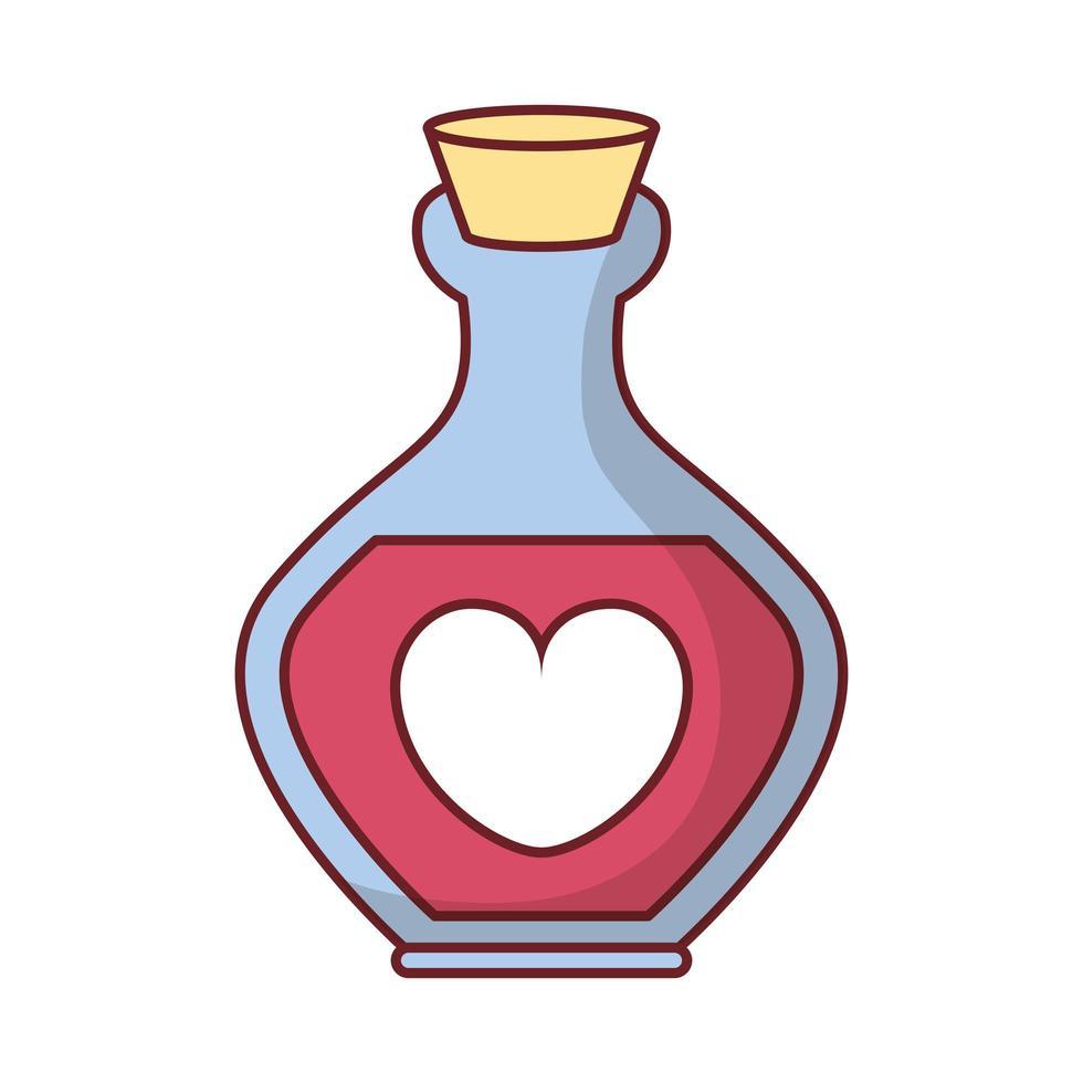bouteille de parfum joyeux saint valentin avec coeur vecteur