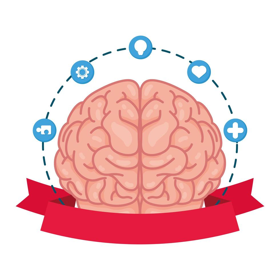 cerveau humain avec des icônes de soins de santé mentale vecteur