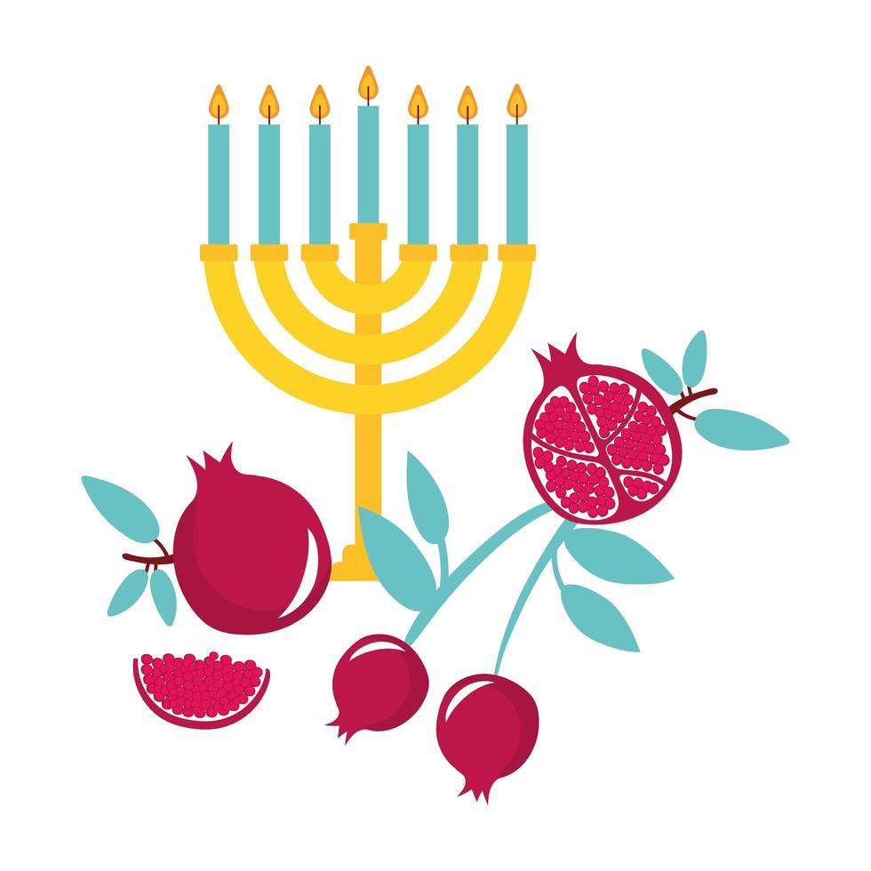 menorah avec des bougies et des fruits vecteur