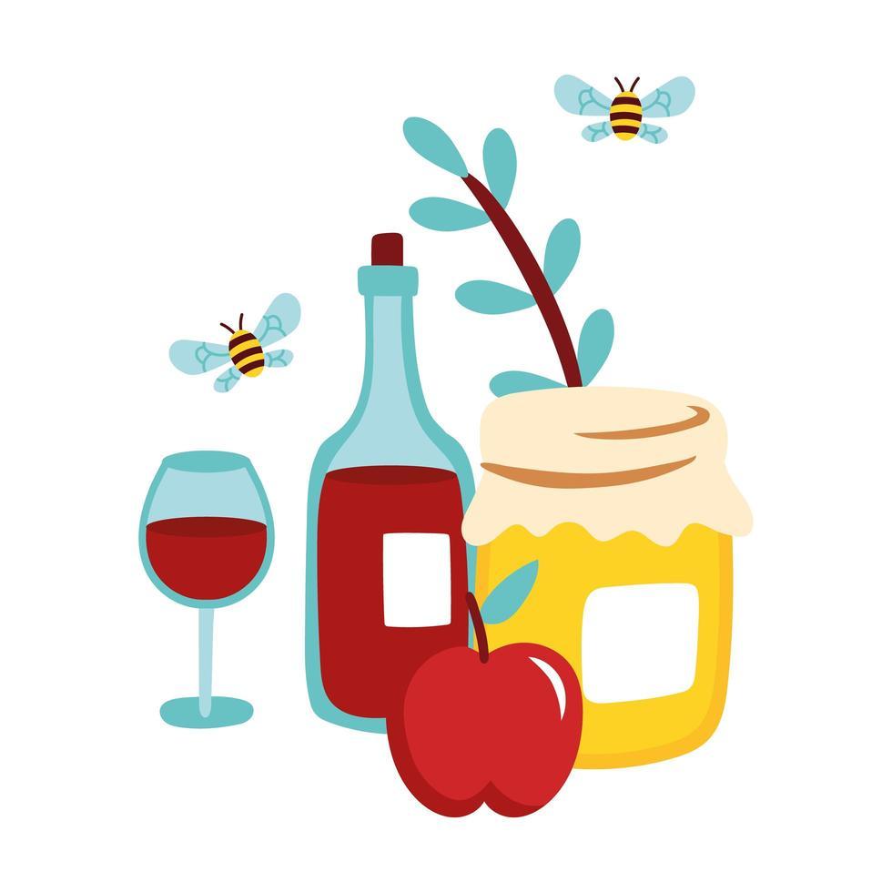 Pot de miel sucré avec du vin et des abeilles volant vecteur