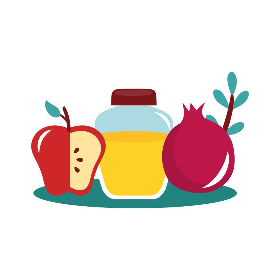 miel en pot avec pomme et grenade vecteur