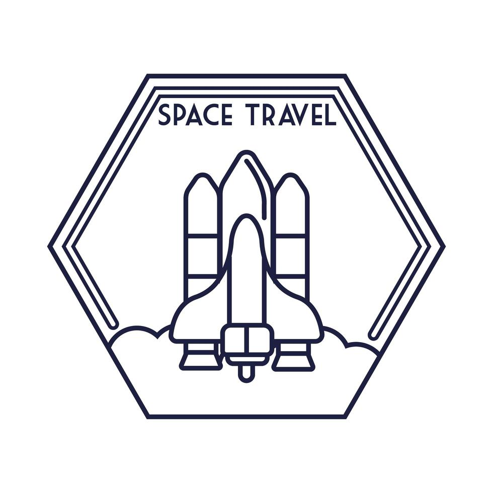 insigne hexagonal spatial avec style de ligne de vol de vaisseau spatial vecteur