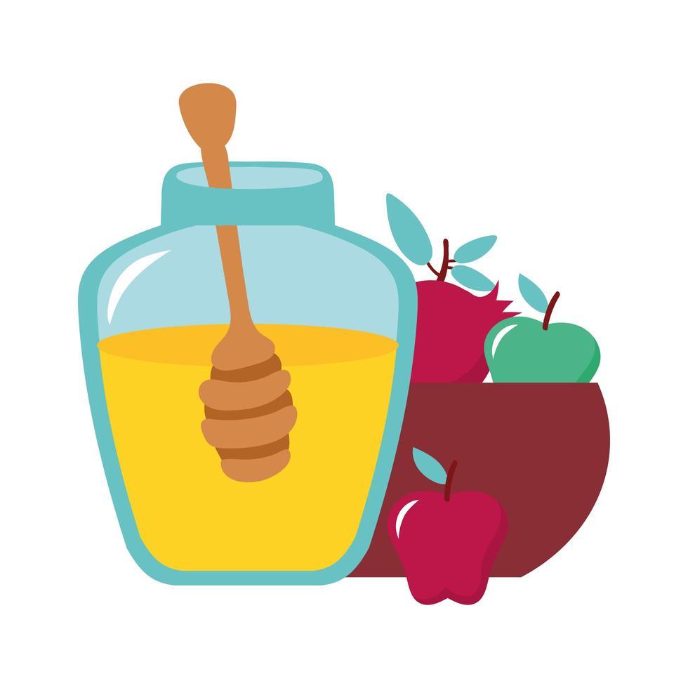 miel en pot avec fruits et cuillère vecteur
