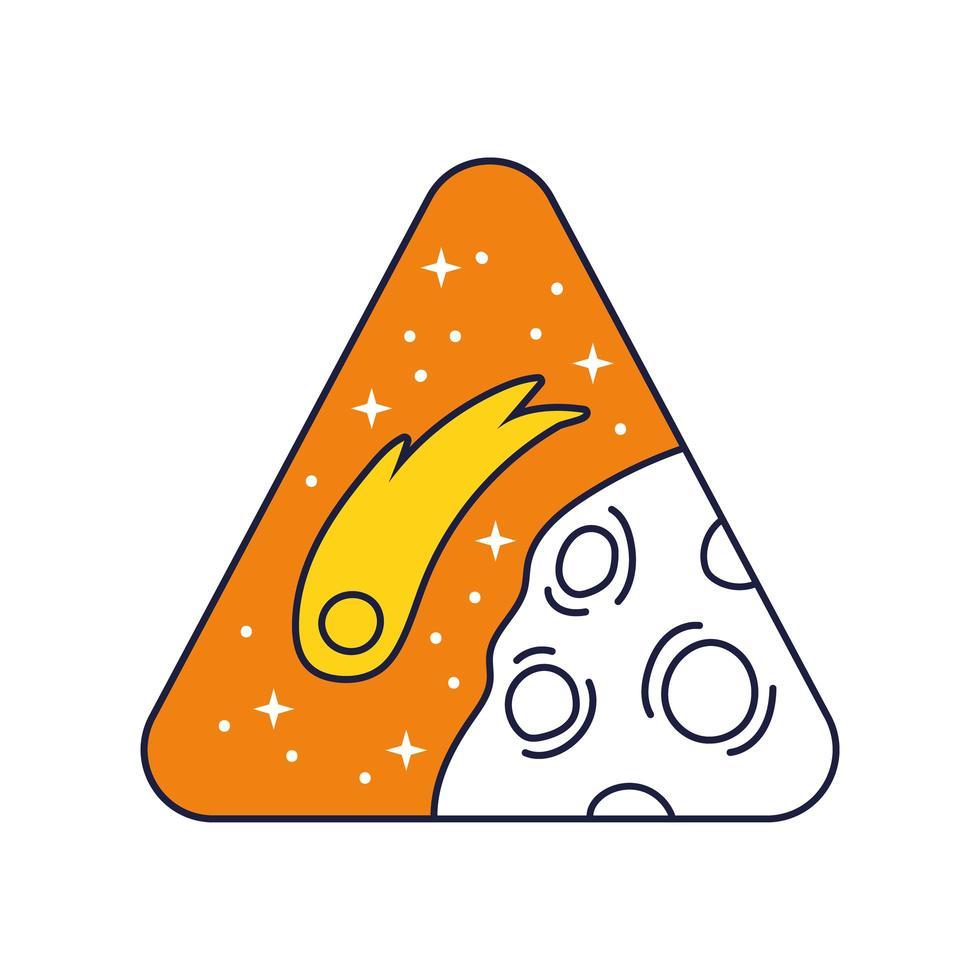 insigne triangulaire spatial avec ligne de planète mars et style de remplissage vecteur