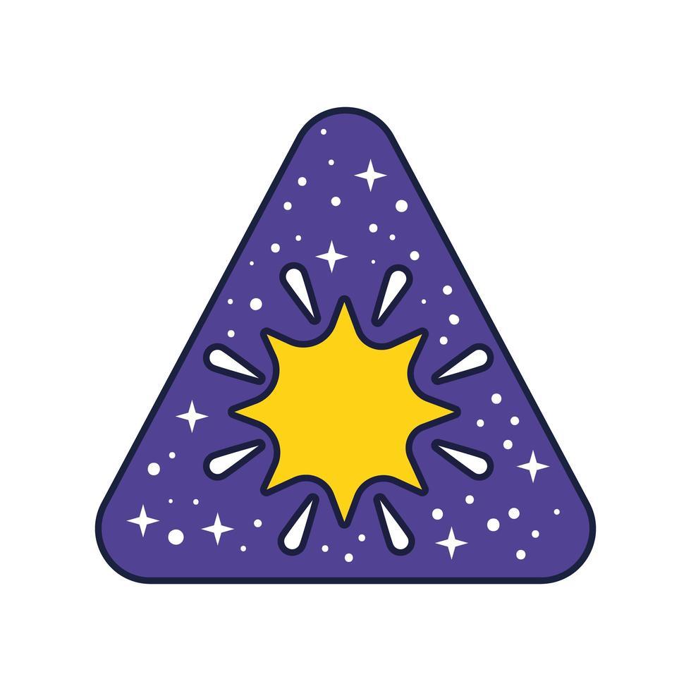 badge d & # 39; espace avec ligne en étoile et style de remplissage vecteur
