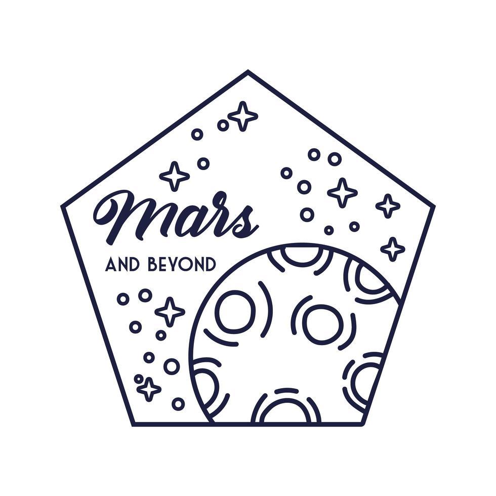 insigne du pentagone spatial avec style de ligne planète mars vecteur