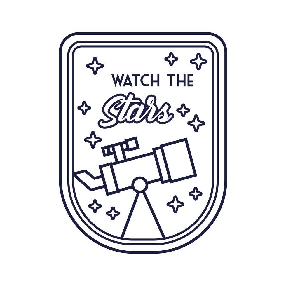 badge spatial avec télescope et regardez le style de ligne des étoiles vecteur
