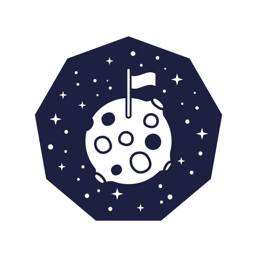 insigne de l & # 39; espace avec la planète mars avec style de ligne de drapeau vecteur