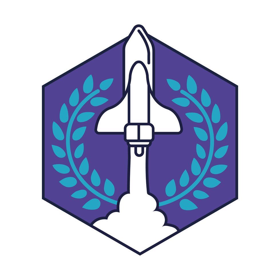 insigne hexagonal spatial avec ligne de vol de vaisseau spatial et style de remplissage vecteur