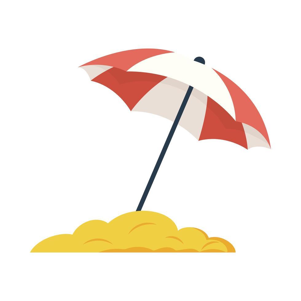 icône de style plat parapluie de plage vecteur