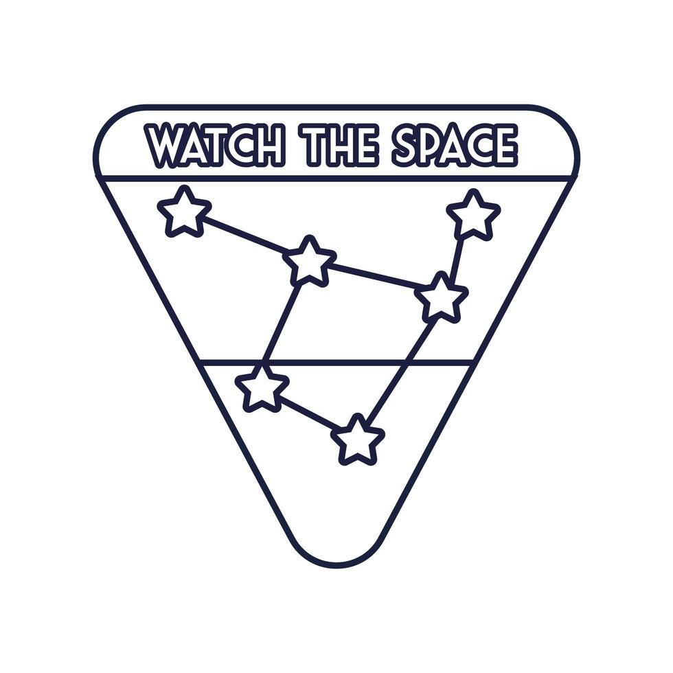 insigne d & # 39; espace avec style de ligne de constellation vecteur