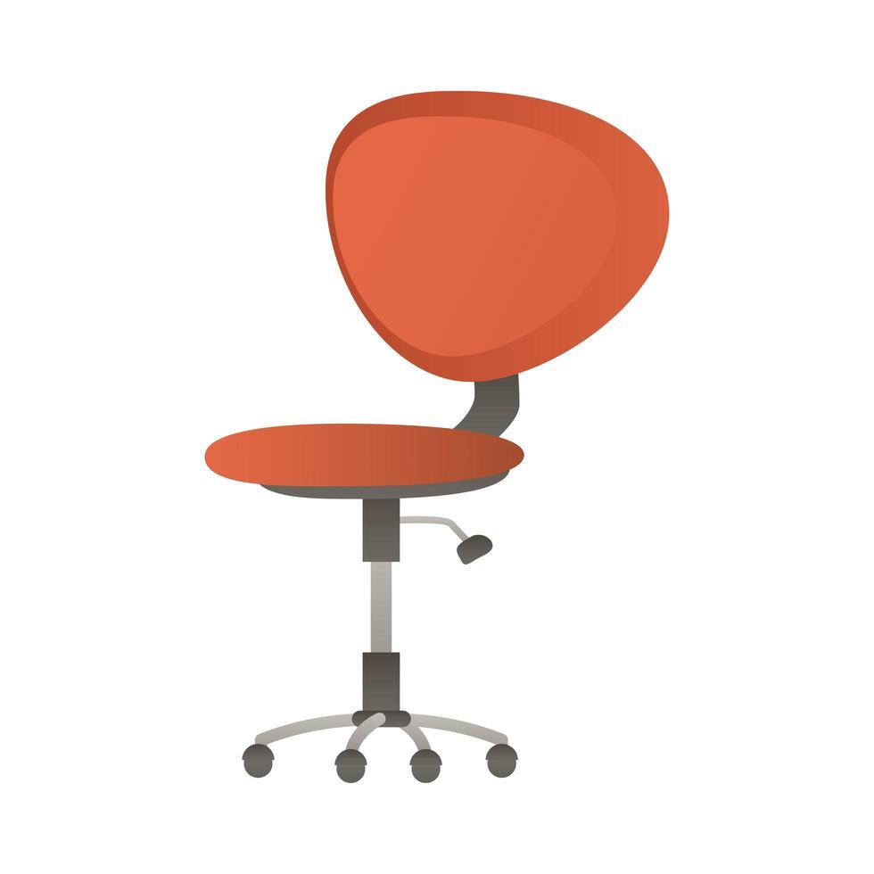 icône isolé de chaise de bureau rouge vecteur