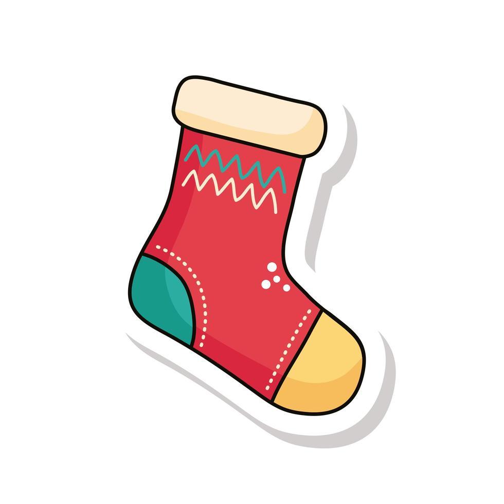 icône d'autocollant chaussette joyeux noël vecteur