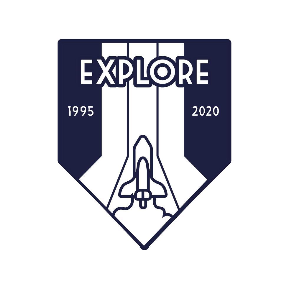 badge spatial avec un vaisseau spatial volant et explorez le style de ligne de lettrage vecteur