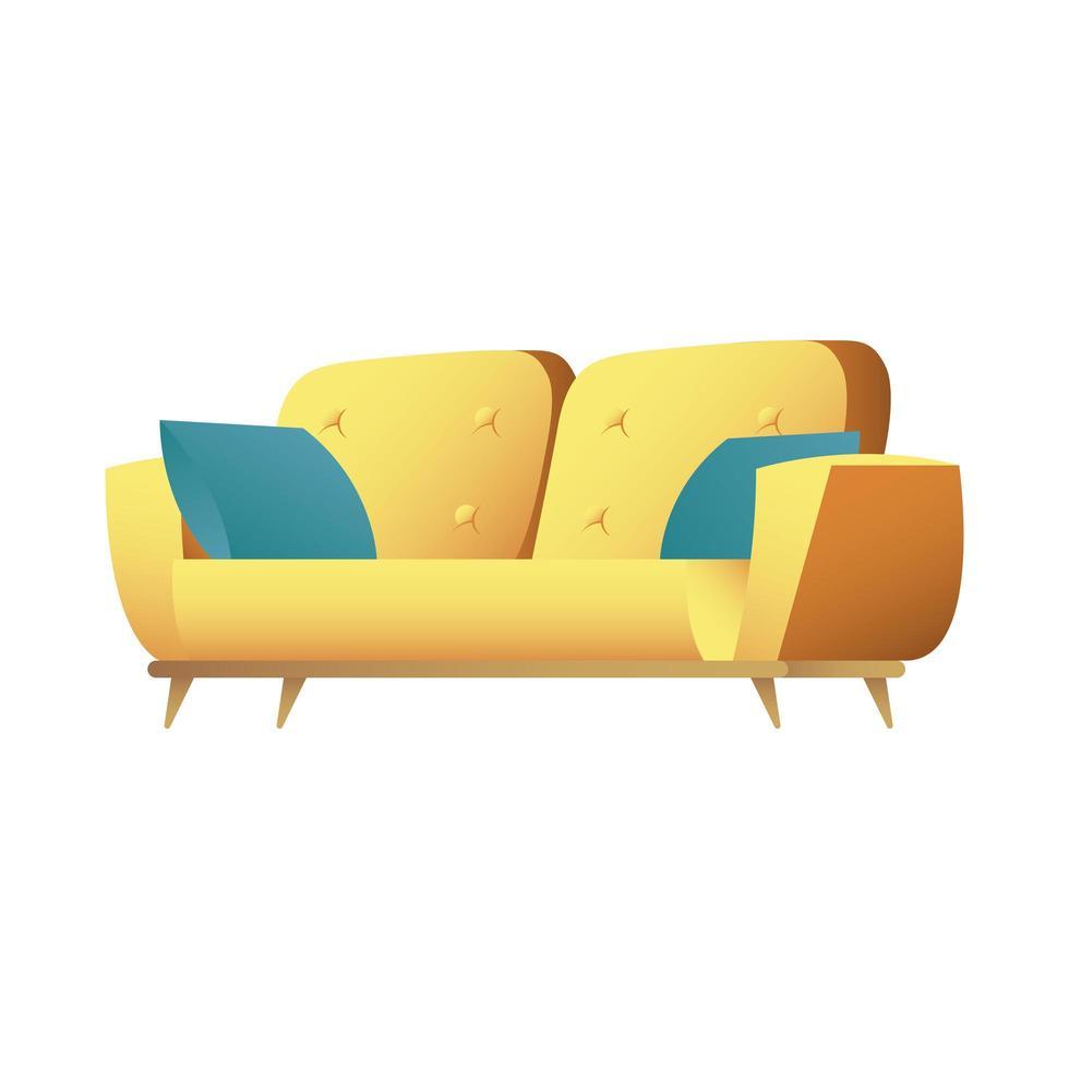 canapé double jaune avec coussins vecteur