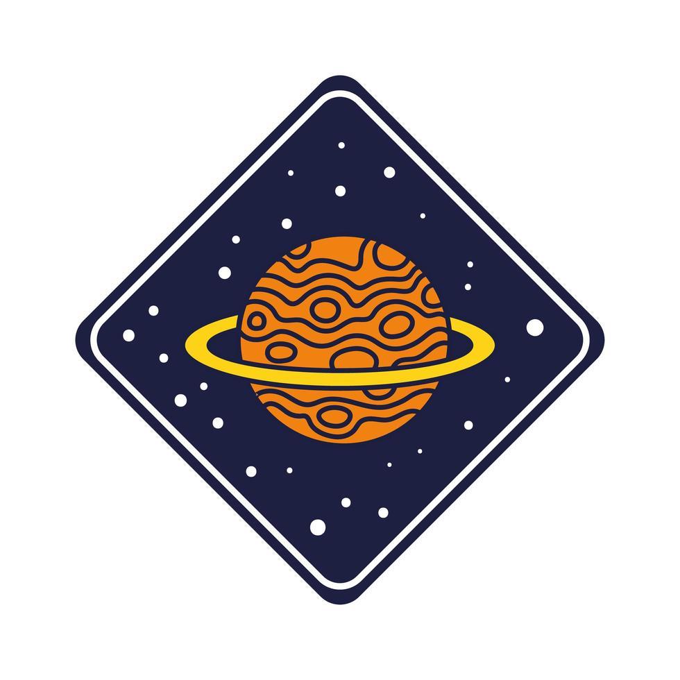 badge d & # 39; espace avec ligne de planète saturne et style de remplissage vecteur