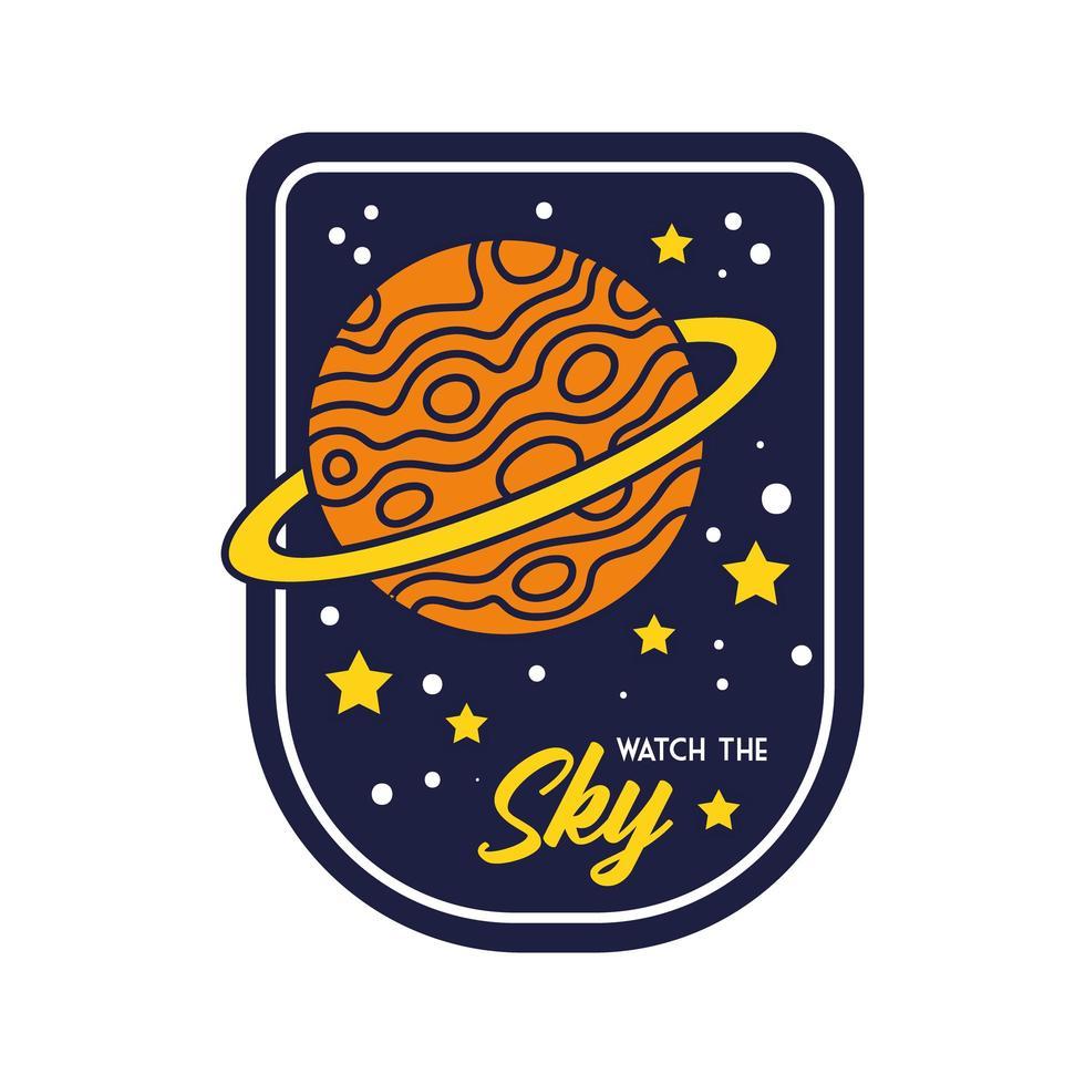 insigne de l & # 39; espace avec la planète saturne et regardez la ligne de lettrage du ciel et le style de remplissage vecteur