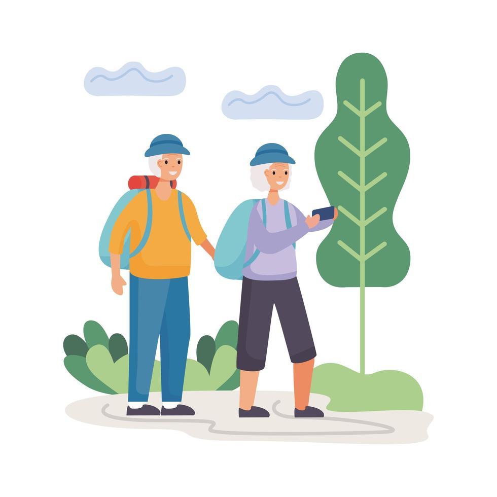 Couple de personnes âgées actif marchant dans la conception d'illustration vectorielle de camp vecteur