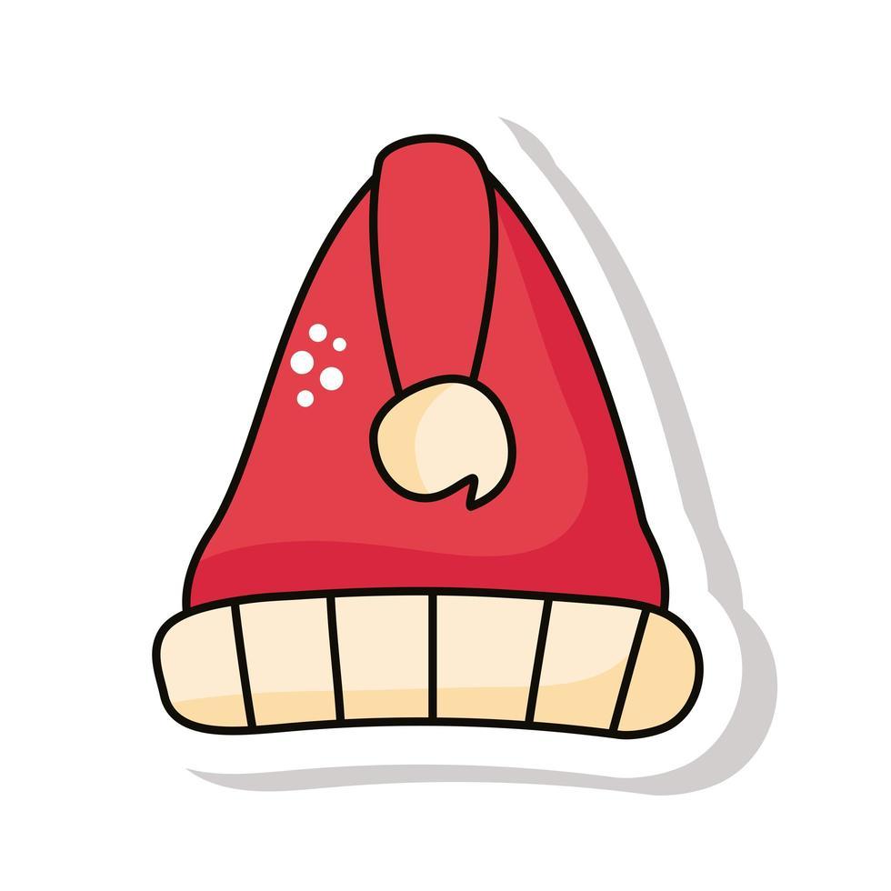 autocollant de bonnet de noel rouge de noël vecteur
