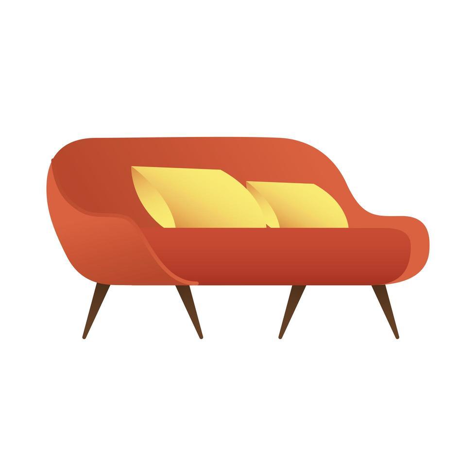 canapé double rouge avec coussins isolé illustration vectorielle icône vecteur