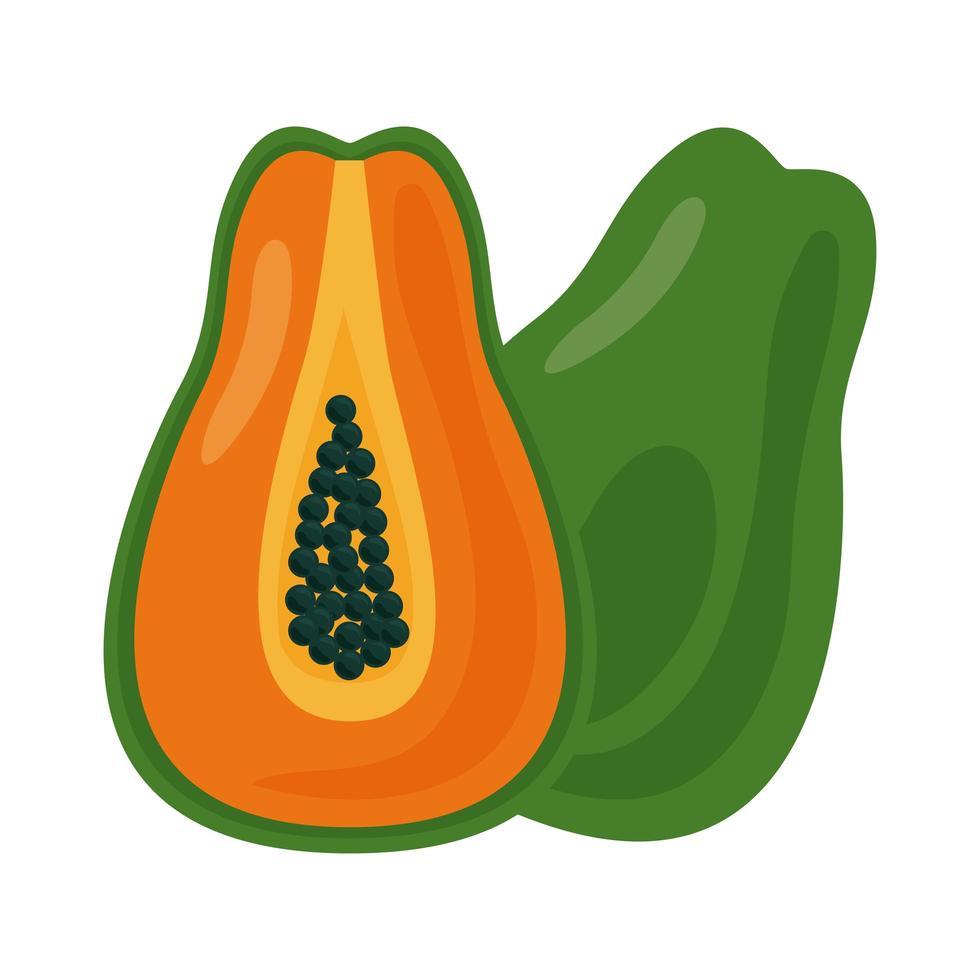 icône de nourriture saine de fruits frais de papaye vecteur