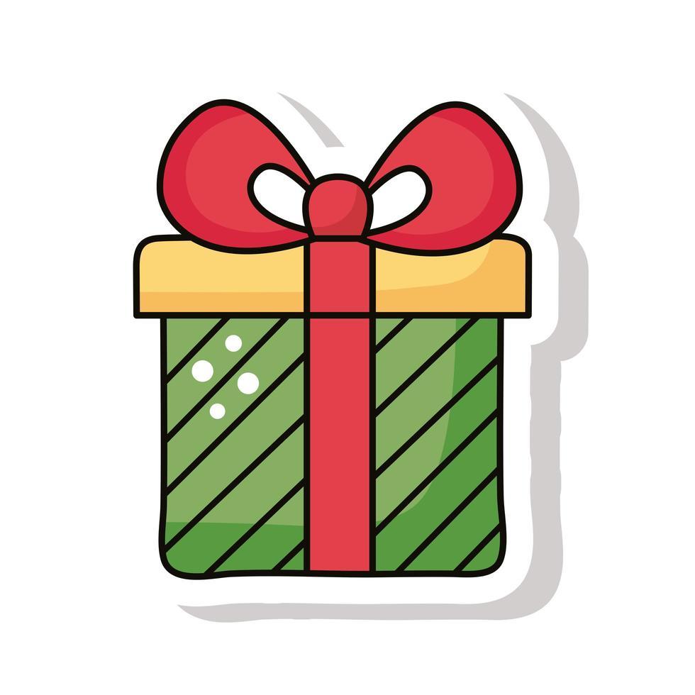 icône d'autocollant cadeau joyeux noël vecteur