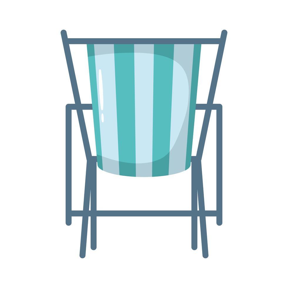 icône de style plat chaise de plage vecteur