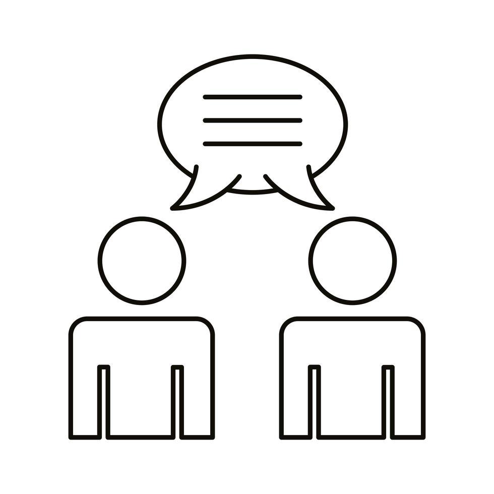 avatar couple coworking avec icône de style de ligne bulle discours vecteur