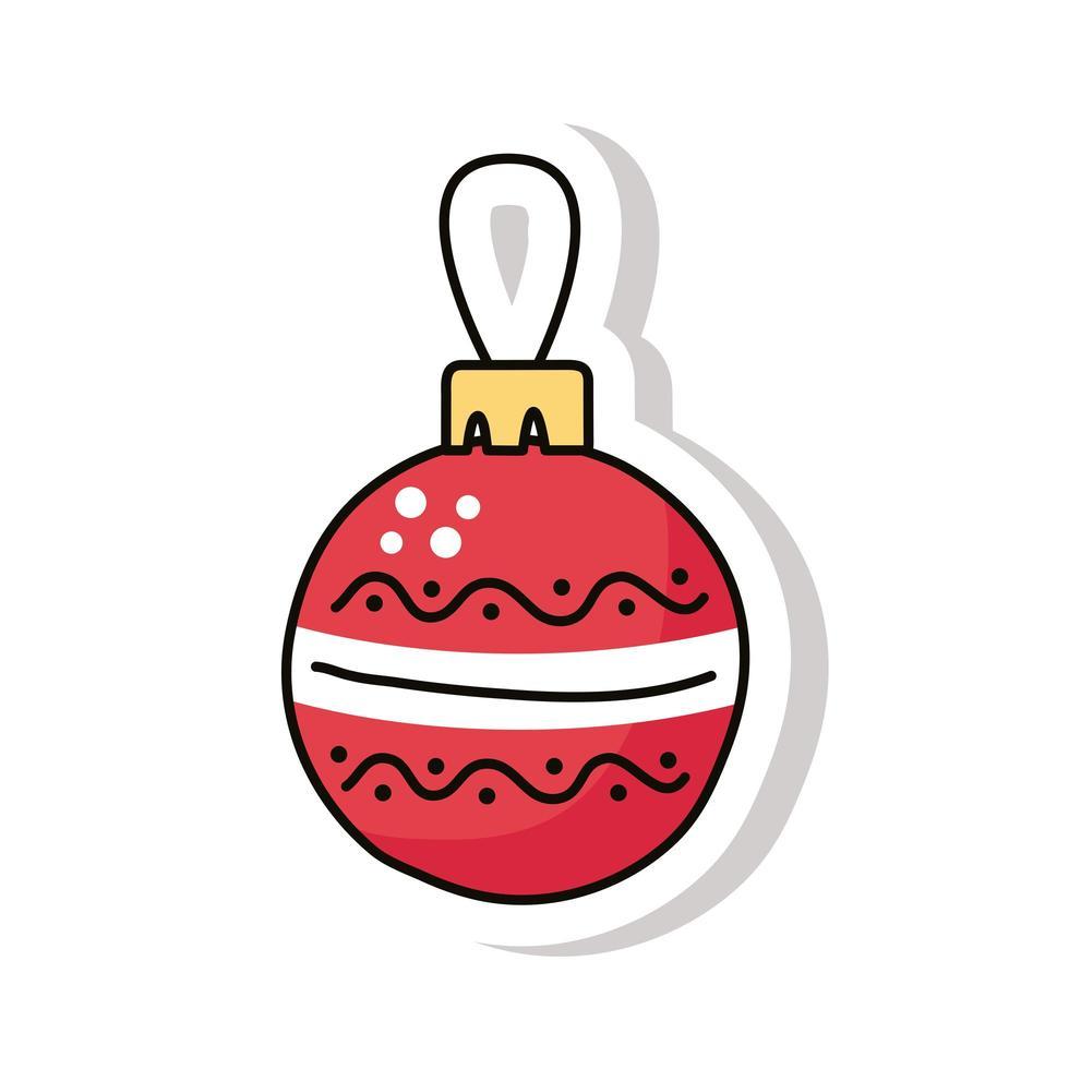 icône d'autocollant de boule joyeux noël vecteur
