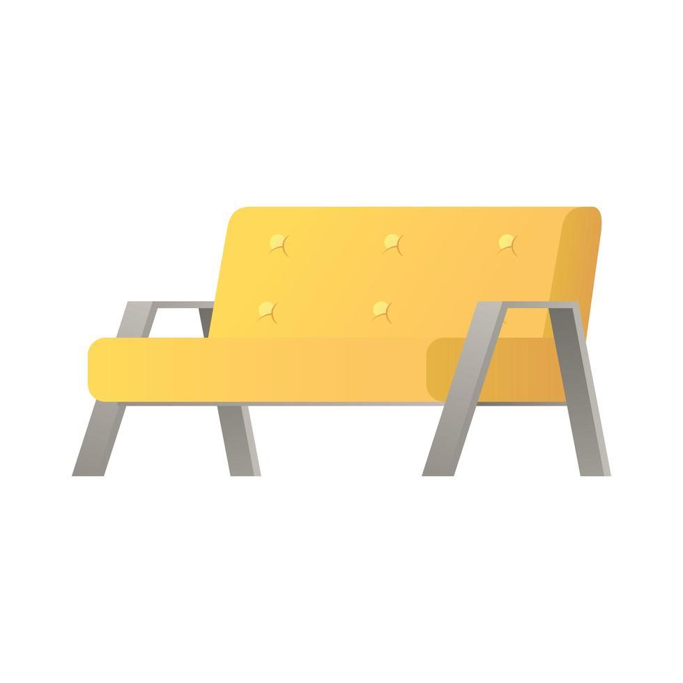 Canapé jaune double icône isolé de la maison de meubles vecteur