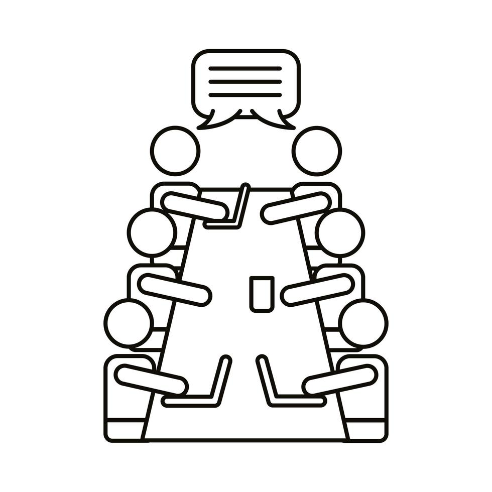 groupe de travailleurs parlant à l & # 39; icône de style de ligne de table vecteur