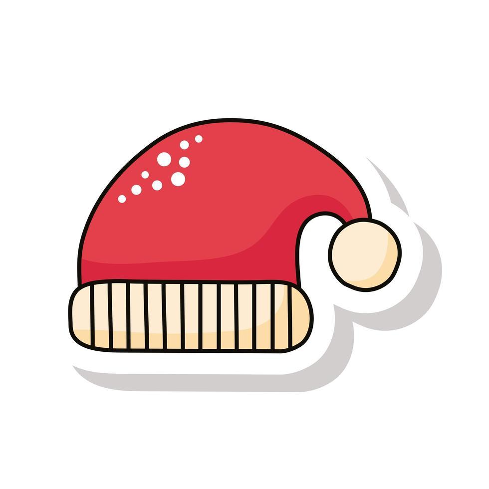 Icône d'autocollant de chapeau de père Noël rouge joyeux noël vecteur