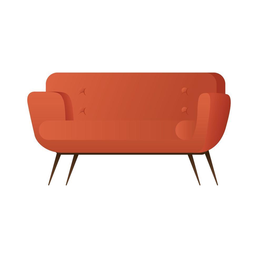 Canapé double rouge design illustration vectorielle isolé vecteur